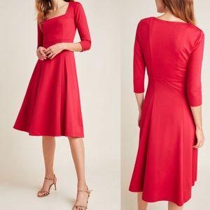 Anthropologie Maeve Jocelyn Midi Red Dress Medium